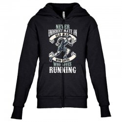 never underestimate an old man who loves running Youth Zipper Hoodie | Artistshot