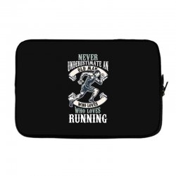never underestimate an old man who loves running Laptop sleeve | Artistshot