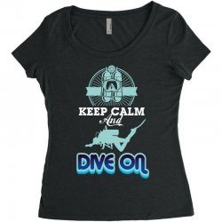 keep calm and dive on Women's Triblend Scoop T-shirt | Artistshot