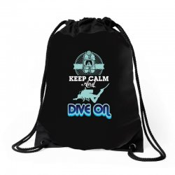 keep calm and dive on Drawstring Bags | Artistshot