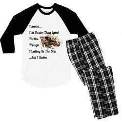 i swim... i am faster than land turtles trough floating in the sea   . Men's 3/4 Sleeve Pajama Set | Artistshot