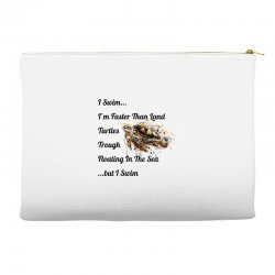 i swim... i am faster than land turtles trough floating in the sea   . Accessory Pouches | Artistshot
