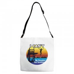 i can't my daughter has swimming Adjustable Strap Totes | Artistshot