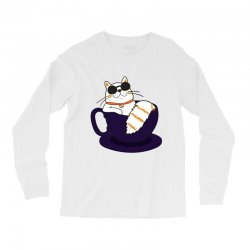 cool cat and coffee Long Sleeve Shirts   Artistshot
