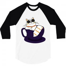 cool cat and coffee 3/4 Sleeve Shirt   Artistshot