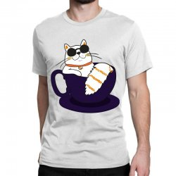 cool cat and coffee Classic T-shirt   Artistshot