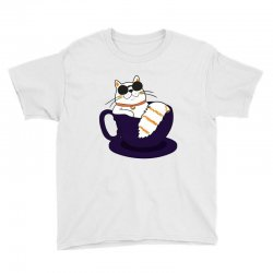 cool cat and coffee Youth Tee   Artistshot