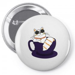 cool cat and coffee Pin-back button   Artistshot