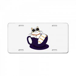 cool cat and coffee License Plate   Artistshot