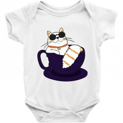 cool cat and coffee Baby Bodysuit   Artistshot
