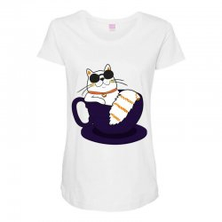 cool cat and coffee Maternity Scoop Neck T-shirt   Artistshot