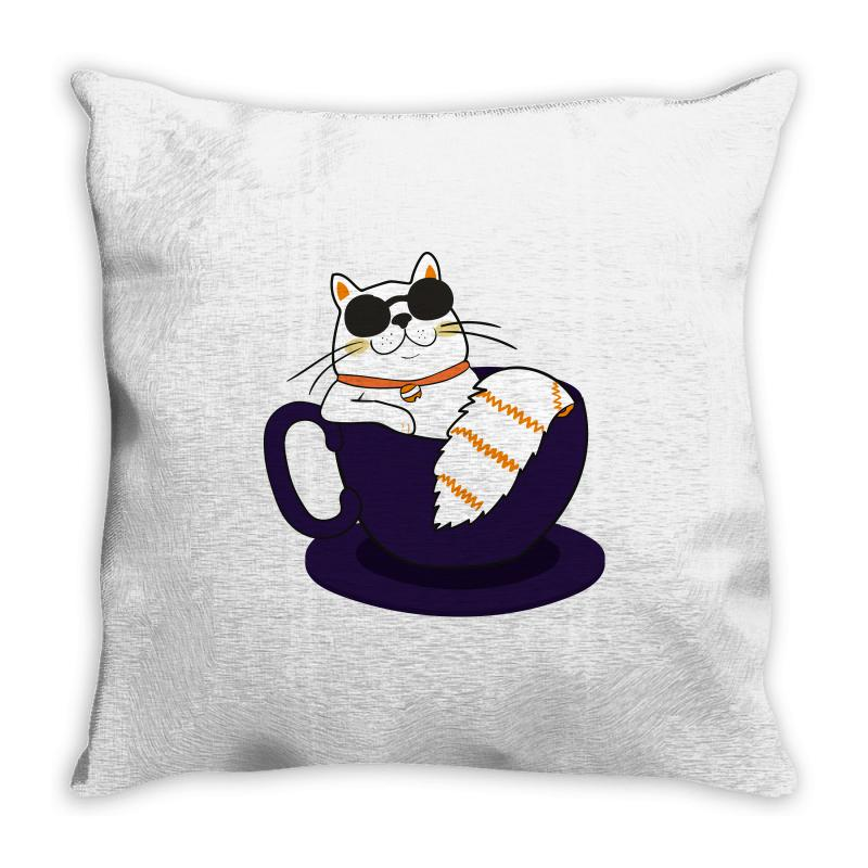 Cool Cat And Coffee Throw Pillow   Artistshot