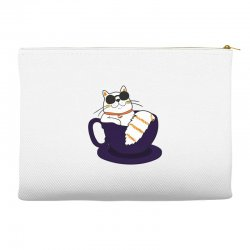 cool cat and coffee Accessory Pouches   Artistshot