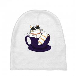 cool cat and coffee Baby Beanies   Artistshot