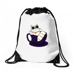 cool cat and coffee Drawstring Bags   Artistshot