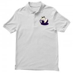 cool cat and coffee Polo Shirt   Artistshot
