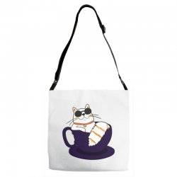 cool cat and coffee Adjustable Strap Totes   Artistshot