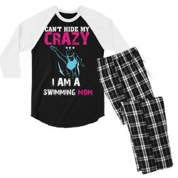 can't hide my crazy i am a swimming mom Men's 3/4 Sleeve Pajama Set   Artistshot