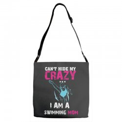 can't hide my crazy i am a swimming mom Adjustable Strap Totes   Artistshot