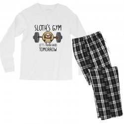 sloth's gym let's train hard tomorrow Men's Long Sleeve Pajama Set | Artistshot