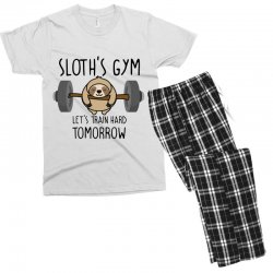 sloth's gym let's train hard tomorrow Men's T-shirt Pajama Set | Artistshot