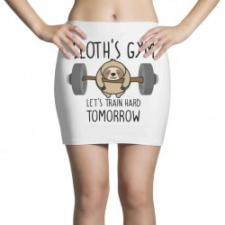 sloth's gym let's train hard tomorrow Mini Skirts | Artistshot