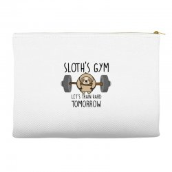 sloth's gym let's train hard tomorrow Accessory Pouches | Artistshot