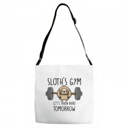 sloth's gym let's train hard tomorrow Adjustable Strap Totes | Artistshot