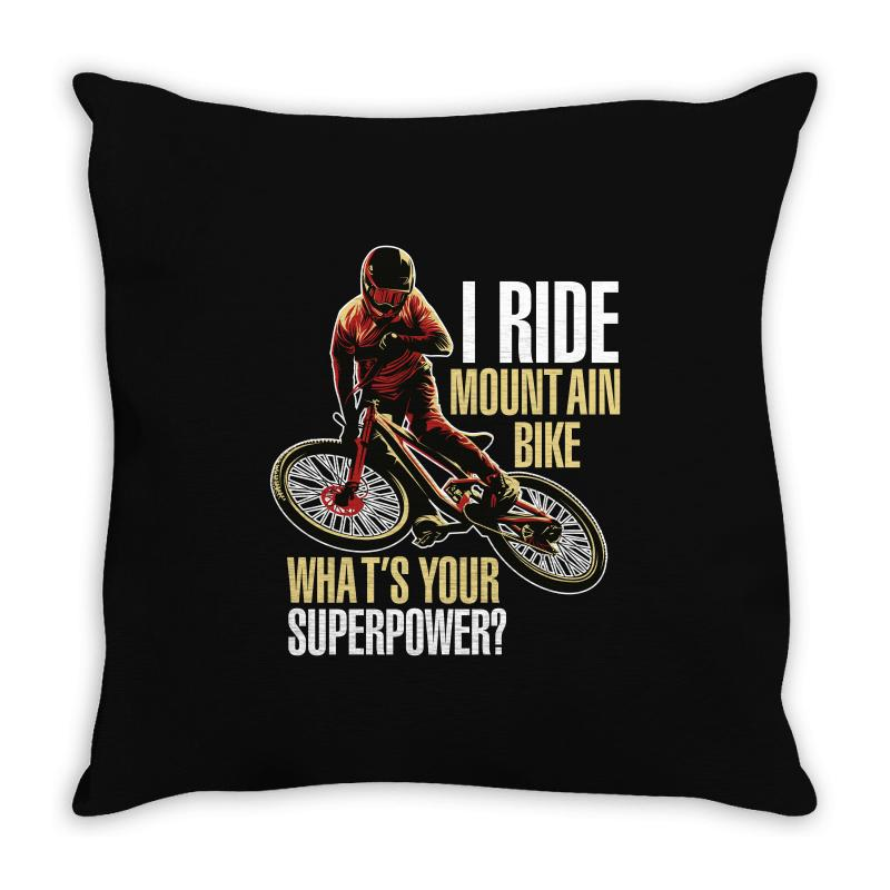 I Ride Mountain Bike Throw Pillow | Artistshot