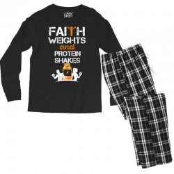 faith weights and protein shakes Men's Long Sleeve Pajama Set | Artistshot