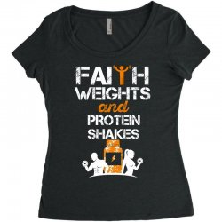 faith weights and protein shakes Women's Triblend Scoop T-shirt | Artistshot