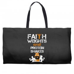 faith weights and protein shakes Weekender Totes | Artistshot