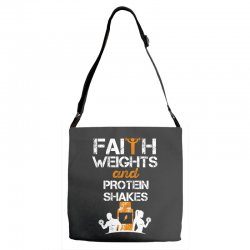 faith weights and protein shakes Adjustable Strap Totes | Artistshot