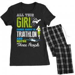 all this girl cares about is triathlon and maybe three people.  run sw Women's Pajamas Set | Artistshot
