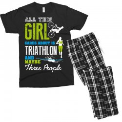 all this girl cares about is triathlon and maybe three people.  run sw Men's T-shirt Pajama Set | Artistshot