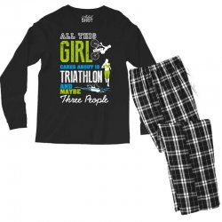all this girl cares about is triathlon and maybe three people.  run sw Men's Long Sleeve Pajama Set | Artistshot