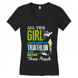all this girl cares about is triathlon and maybe three people.  run sw Women's V-Neck T-Shirt | Artistshot