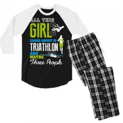 all this girl cares about is triathlon and maybe three people.  run sw Men's 3/4 Sleeve Pajama Set | Artistshot