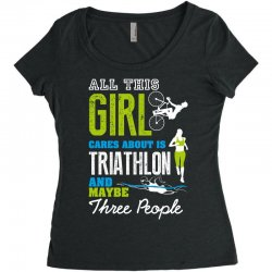 all this girl cares about is triathlon and maybe three people.  run sw Women's Triblend Scoop T-shirt | Artistshot