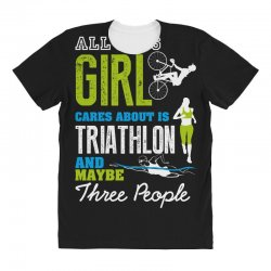 all this girl cares about is triathlon and maybe three people.  run sw All Over Women's T-shirt | Artistshot