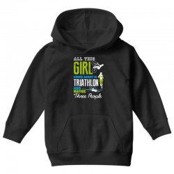 all this girl cares about is triathlon and maybe three people.  run sw Youth Hoodie | Artistshot