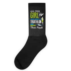 all this girl cares about is triathlon and maybe three people.  run sw Socks | Artistshot