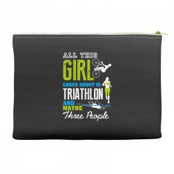 all this girl cares about is triathlon and maybe three people.  run sw Accessory Pouches | Artistshot
