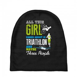 all this girl cares about is triathlon and maybe three people.  run sw Baby Beanies | Artistshot