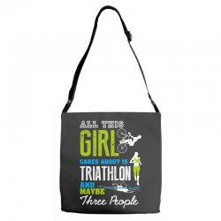 all this girl cares about is triathlon and maybe three people.  run sw Adjustable Strap Totes | Artistshot