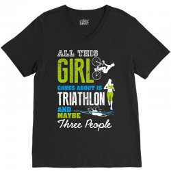 all this girl cares about is triathlon and maybe three people.  run sw V-Neck Tee | Artistshot