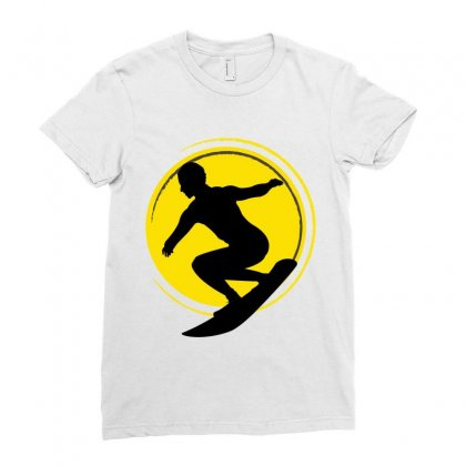 Surfing Girl Ladies Fitted T-shirt Designed By Wizarts