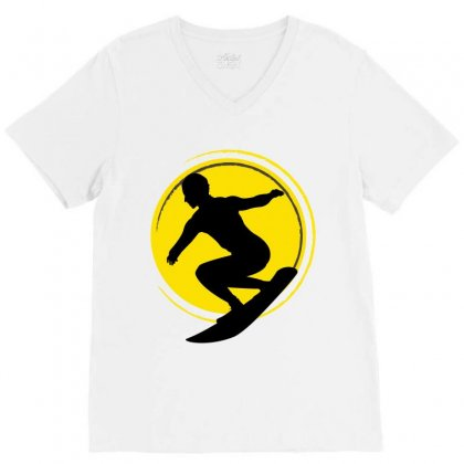 Surfing Girl V-neck Tee Designed By Wizarts