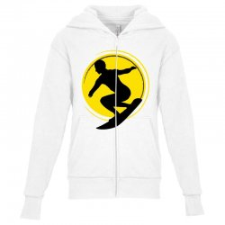 surfing girl Youth Zipper Hoodie | Artistshot