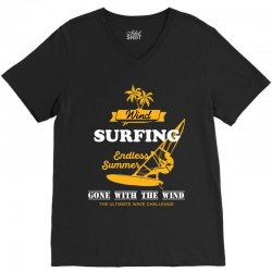 wind surfing endless summer gone with the wind the ultimate wave chall V-Neck Tee | Artistshot